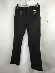 Gucci Mid Rise Flared Pants Brown Gold Logo Accents Sz 0 US 36 IT 968 $99.00