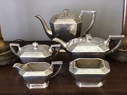 Durgin Sterling Silver Tea And Coffee Pot 5 Pc. Service 1853-1931.jas R. Armiger.
