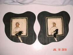 Vintage Pair Of Alexander Backer Abco Chalkware Pixie Elf Elves Wall Plaques Usa