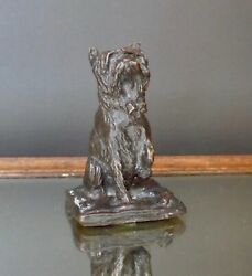 Vintage Bronze Cairn? Terrier Sculpture Artist signed Samson Adorable