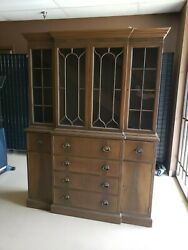 Vintage Drexel Federal Style China Cabinet - Hutch - Large Display Cabinet