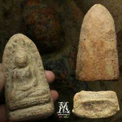 Antique Ancient Rare Big Size Real Old Phra Rod Lampoon Thai Amulet Buddha Lucky