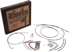 Burly B30-1127 Cable And Brake Line Kit Stainless Braid 14in. Ape Hangers