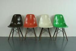Vintage Eames Dsw Chairs Herman Miller 50s 60s Midcentury Autumn Colours 2089