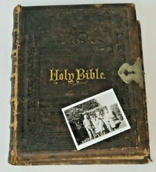 Rare -1882 Holmanand039s Edition Family Holy Bible From Wwii Jimmy Doolittleand039s Family