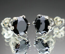 4.00 To 5.50tcw Real Natural Black Diamond Earrings Aaa Grade And 2200 Value +