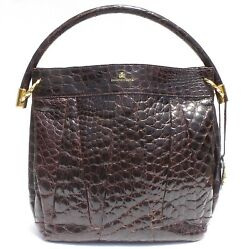 DOMENICO VACCA Brown Alligator Leather Pleated Hobo Gold Ring Shoulder Bag Italy $795.00