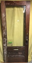 Antique Arts And Crafts Wood Exterior French Entry Door /w Beveled Glass 34x80