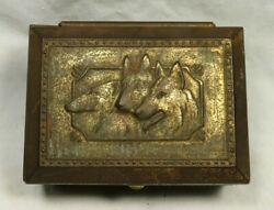 Victorian German Wood Lined Brass Sheppard And Whippet Dog Tobacco Cigarette Box