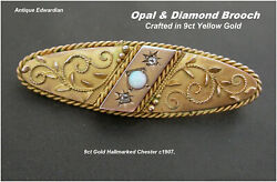 Antique Opal And Diamond Brooch Pin Edwardian 9ct Gold Chester Hm C1907 Beautiful