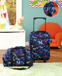 3 Pc Dinosaur Kids LUGGAGE MONOGRAM LETTER ROLLING SUITCASE DUFFEL BAG POUCH $32.77