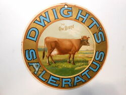Lithographed Cardboard Sign Dwightand039s Saleratus - The Cow Brand - Flour C1880