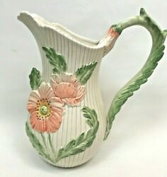 Vintage Fitz And Floyd Pitcher Flowers Pink Green Floral 1980and039s White Japan
