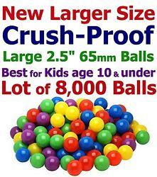 8000 Ball Pit Balls 4 Colors Large 2.5 65mm Air-filled Bpa Free Non-toxic Kids