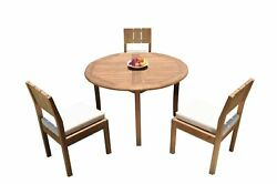 Dsvr A-grade Teak 4pc Dining Set 48 Round Table 3 Armless Chairs Outdoor Patio