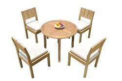 Dsvr A-grade Teak 5pc Dining Set 36 Round Table 4 Arm Chairs Outdoor Patio