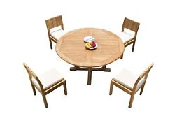 Dsvr A-grade Teak 5pc Dining Set 60 Round Table 4 Armless Chairs Outdoor Patio