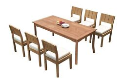 Dsvr A-grade Teak 7pc Dining Set 71 Rectangle Table 6 Armless Chairs Outdoor