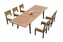 Dsvr A-grade Teak 7pc Dining Set 118 Rectangle Table 6 Armless Chairs Outdoor
