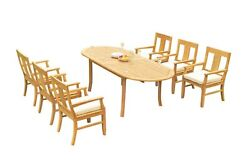 Dsos A-grade Teak 7pc Dining Set 94 Oval Table 6 Arm Chairs Outdoor Patio