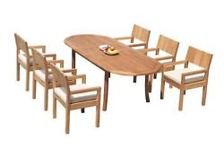 Dsvr A-grade Teak 7pc Dining Set 94 Oval Table 6 Arm Chairs Outdoor Patio