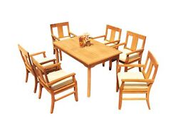 Dsos A-grade Teak 7pc Dining Set 60 Rectangle Table 6 Arm Chairs Outdoor Patio