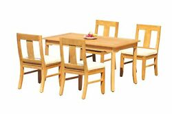 Dsos A-grade Teak 5pc Dining Set 60 Rectangle Table 4 Armless Chairs Outdoor