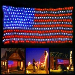 Led Usa Flag Net Lights The United States Waterproof American String Christmas