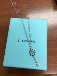 And Company 18k White Gold Floral Diamond Key Necklace 24 Oval Link Chain