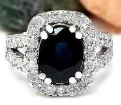 3.52 Carat Natural Sapphire 14k Solid White Gold Diamond Ring