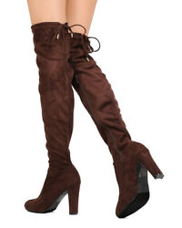 New Women Dbdk Best-9 Faux Suede Thigh High Drawstring Chunky Heel Boot