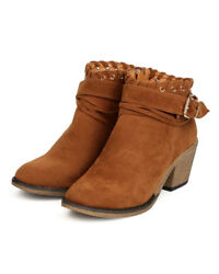 New Women Nature Breeze Dallas-06 Faux Suede Wrap Buckled Chunky Heel Bootie