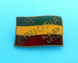 Ethiopia Noc - Vintage Enamel Pin Badge From 1950's Olympic Games Rr