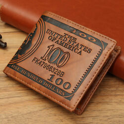 Men's US 100 Dollar Bill Leather Bifold Card Photo Holder Wallet Handbag Purse
