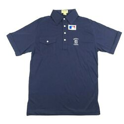 Vintage Detroit Tigers Logo 7 Mens M Embroidered Logo Spell Out Blue Polo Shirt