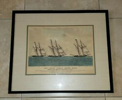 Currier And Ives Original Lithograph The Great Ocean Yacht Race 1867
