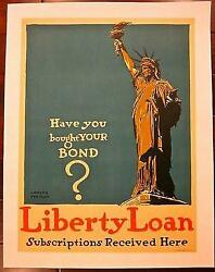 Reduced 92 Liberty Loan Subscriptions -wwi 1917 Lb Poster Statue Of Liberty