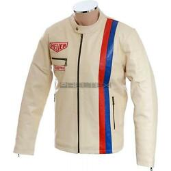 Steve Mcqueen Cream Grand Prix Le Mans Biker Or Causal Style Pure Leather Jacket