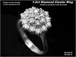 Diamond Cluster Ring Size R Quality London 18ct Gold Hm 1.2ct Dia C1978 Vintage