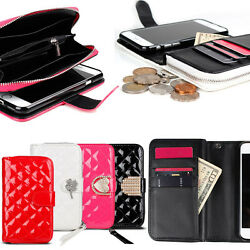 Zipper Quilting Wallet Case for Samsung Galaxy S10 S10+ S10e 5G S9 S9+ S8 S7 S6
