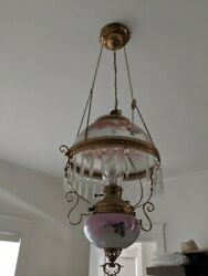 Beautiful Victorian Hanging Parlor Lamp/ Ceiling Chandelier W/dangling Crystals