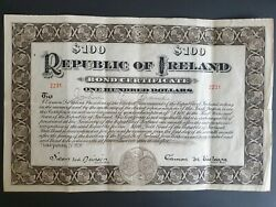 RARE 100$ Issued 1920 Republic of Ireland Hundred Dollars Bond Irish Certificate