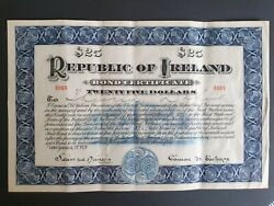RARE 25$ Issued 1920 Republic of Ireland Hundred Dollars Bond Irish Certificate