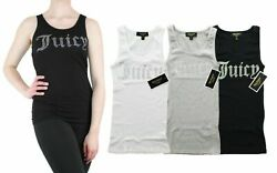 Juicy Couture Tank Top Women#x27;s Gothic Crystal Logo Ribbed Sleeveless Shirt