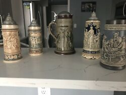 Antique German Made Collectable Story Telling Hand Crafted Beer Stains. 5 Pice