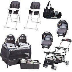 Baby Combo Set Double Stroller Frame 2 Car Seats 2 Chairs Twins Nursery Center