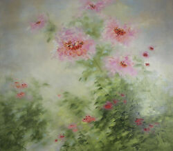 Spring Flowers By Shirley Fleming Signed Oil On Canvas 36x36 W/ Coa
