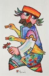 Villager And Geese 59 By Jovan Obican Signed Original Acrylic On Paper 27 1/2x1