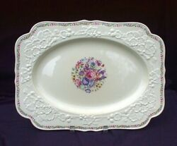 Crown Ducal Large 16 Platter Gainsborough Crd24 Flowers Red Blue Violets Roses