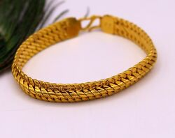 22kt Yellow Gold Handmade Gope Chain Bracelet Certified Royal Jewelry India Br28